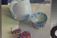Stilleven met kan, schaaltje en verdroogde druifjes, 2006
